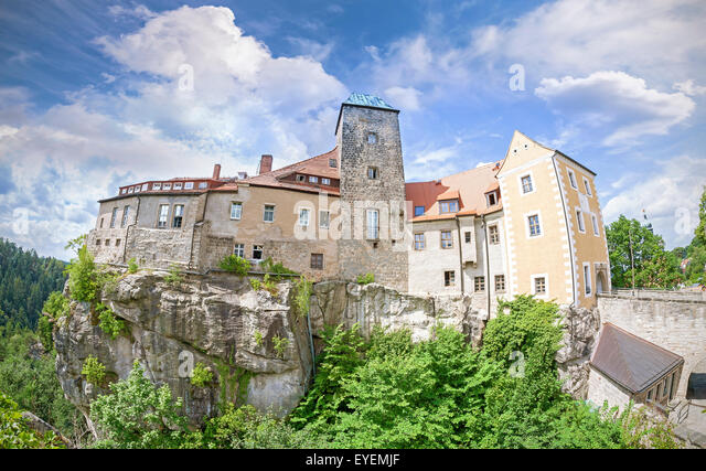 Fisheye lens photo of Hohnstein castle in Saxon Switzerland, Germany. - Stock Image