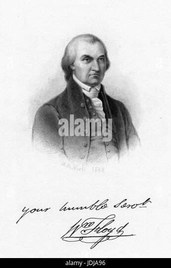Engraved portrait of William Floyd, signer of the Declaration of Independence and a member of the of United States - Stock Image
