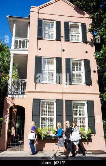 Charleston South Carolina National Historic Landmark Historic District preservation Queen Street house home veranda - Stock Image