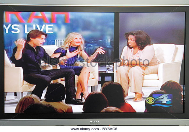 Miami Beach Florida television TV flat panel screen monitor cable channel Oprah Winfrey - Stock Image