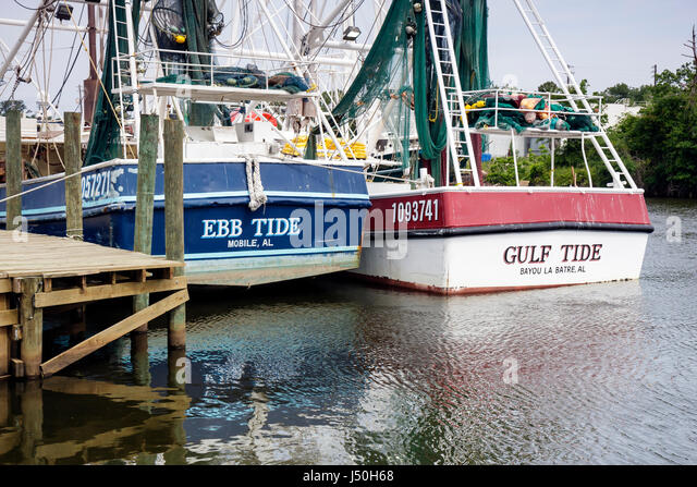 Alabama Bayou la Batre commercial shrimp fleet fishing boat docked pier economy seafood industry Gulf of Mexico - Stock Image