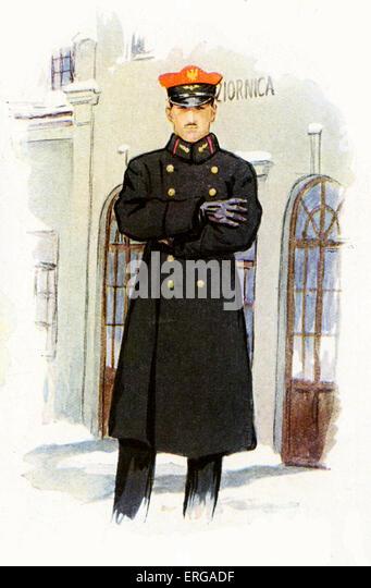Railway staff uniforms, 1920-30s: Polish  railway station master - Stock Image