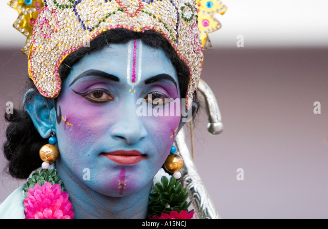 Indian street performer dressed as Lord Rama - Stock-Bilder