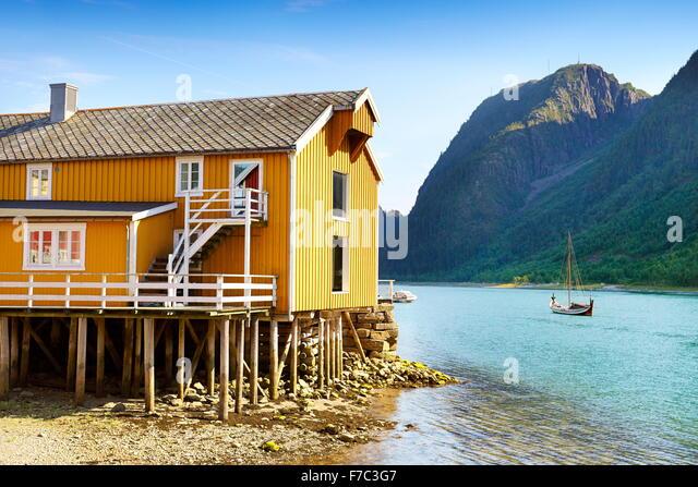 Traditional wooden house, Mosjoen, Norway - Stock Image