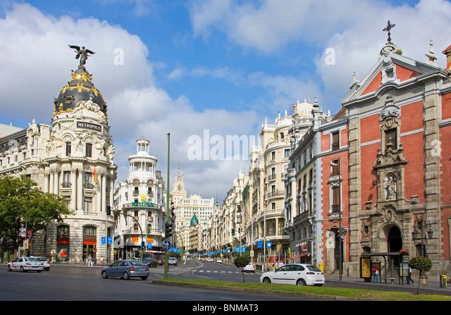 Spain Madrid grain via avenue street building construction holidays travel, - Stock Image