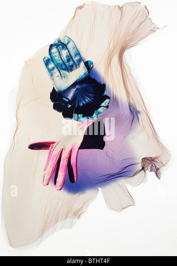Polaroid emulsion transfer of gloves. - Stock Image
