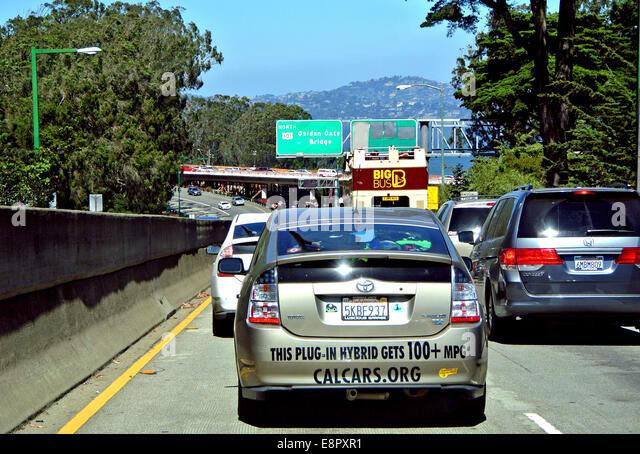 plug in hybrid in traffic in San Francisco California - Stock Image