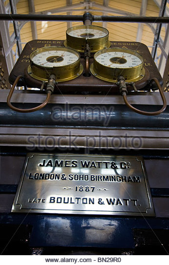 Beam Engine James Watt Scottish inventor and mechanical engineer Brass Plate Boiler Pressure Gauges - Stock Image