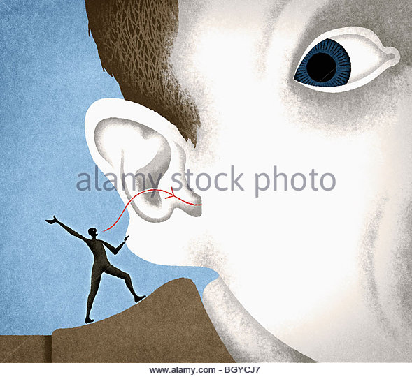 Conscience whispering into man?s ear - Stock-Bilder