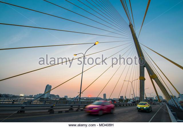 Bridge over Chao Phraya River, Bangkok, Thailand - Stock Image