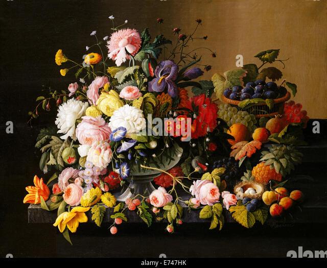Still Life Flowers and Fruit - by Severin Roesen, 1850 - Stock-Bilder
