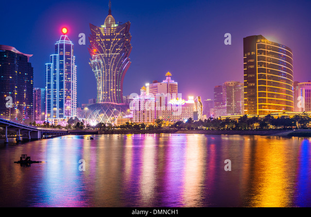 Macau, China skyline at the high rise casino resorts. - Stock Image