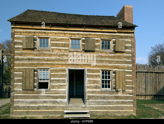 Officers Quarters at Fort Massac State Park a colonial fort near Metropolis Illinois - Stock Image