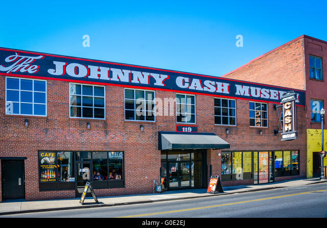 A highlight for fans, the Johnny Cash Museum in Nashville TN is housed in an old historical brick building in colorful - Stock Image