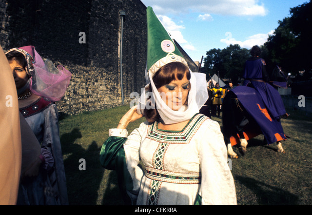 A fair Maiden  in period costume at a Jousting event at The Tower of London UK - Stock Image
