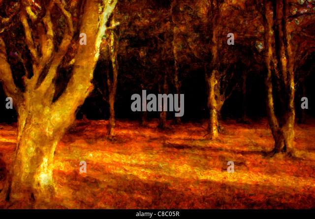 Painting of dark woods - Stock Image