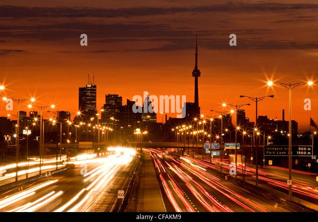 Toronto skyline and QEW highway with morning traffic, Toronto, Ontario, Canada. - Stock-Bilder