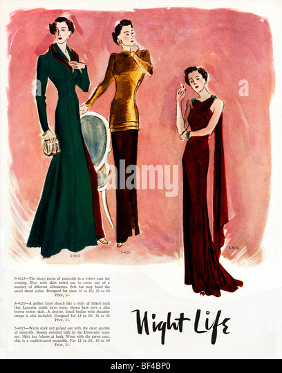 Night Life Two, 1930s fashion magazine illustration of elegant evening gowns - Stock Image