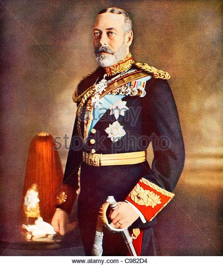 Antique portrait of King George V - Stock Image