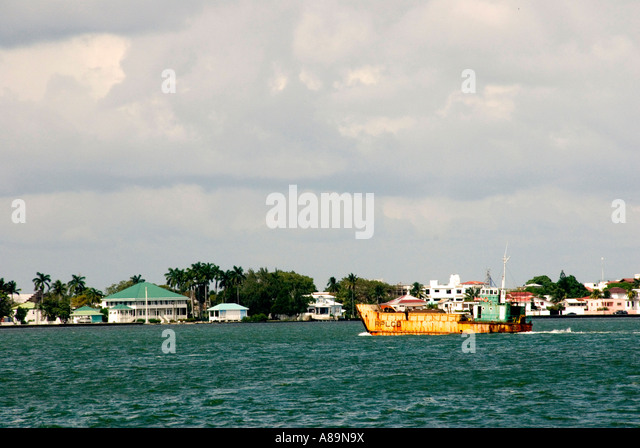 Belize City Belize harbour harbor skyline - Stock Image