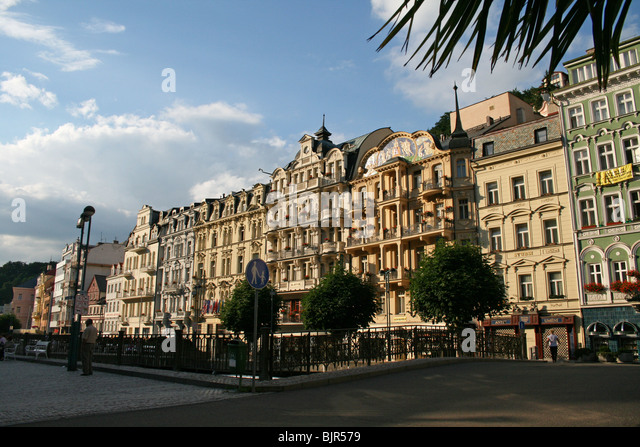 Central Street in Karlovy Vary.Czech Republic - Stock-Bilder