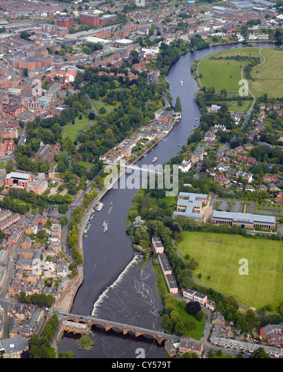 Chester and the River Dee with tourist boats on the river, Cheshire, North West England - Stock Image