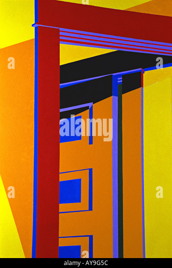 Abstract close up of painting in primary colors of red, blue, green, yellow lines forming squares rectangles and - Stock Image