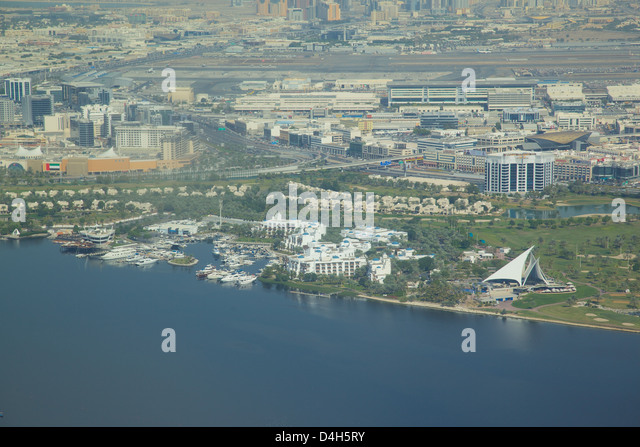 View of The Creek from seaplane, Dubai, United Arab Emirates, Middle East - Stock Image