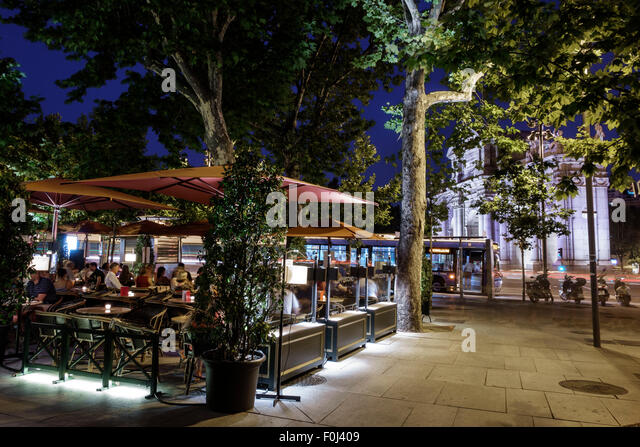 Madrid Spain Europe Spanish Recoletos Salamanca Puerta de Alcala Calle de Alcala Plaza de la Independencia dusk - Stock Image