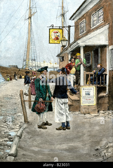 Recruiting sailors outside a tavern on Brownjohns Wharf New York 1700s - Stock Image