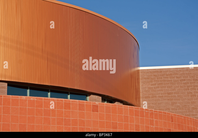 top of commercial building with copper roof - Stock Image