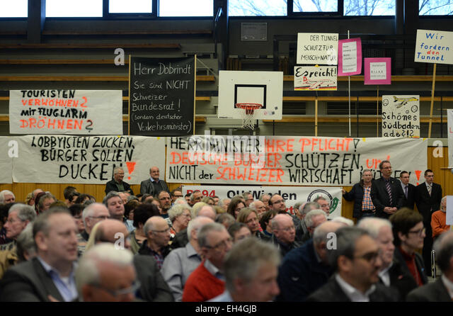 Protest signs in the town hall in Waldshut-Tiengen, Germany, 6 March 2015. German Transport Minister Alexander Dobrindt - Stock Image