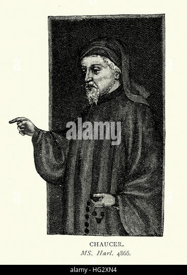 Portrait of Geoffrey Chaucer, known as the Father of English literature, is widely considered the greatest English - Stock Image