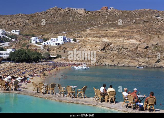 Best Island Beaches For Partying Mykonos St Barts: Super Paradise Beach Mykonos Stock Photos & Super Paradise