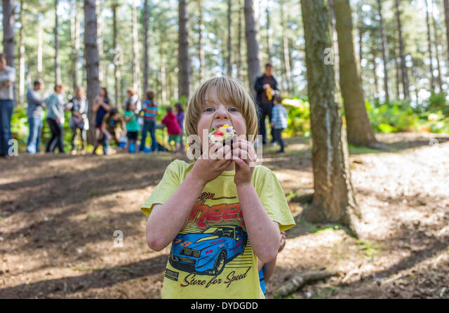 A young boy eating a cake in the woods. - Stock Image