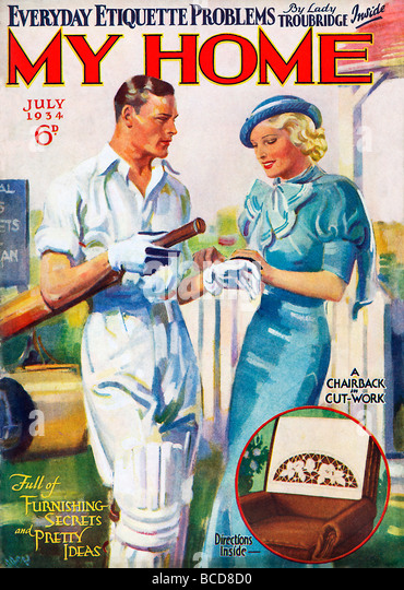 My Home Cricket cover of the 1930s home and lifestyle womens magazine a chap is helped get ready for the crease - Stock Image