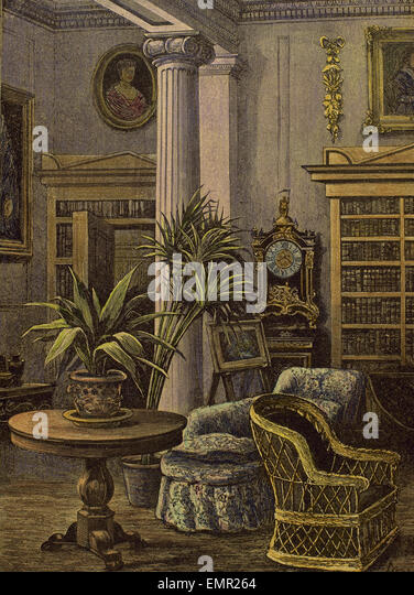 Bourgeois house. Sitting room. 19th century. Engraving by Gascoine, 1885. Colored. - Stock Image