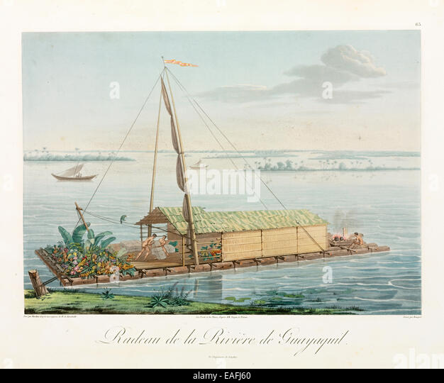 Peruvian style raft as used by Humboldt and Bonpland in their early 19th Century exploration of the South American - Stock Image