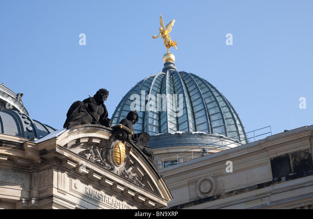The glass dome of the Kunst Academie, known locally as the Lemon Squeezer, Dresden, Germany. - Stock Image