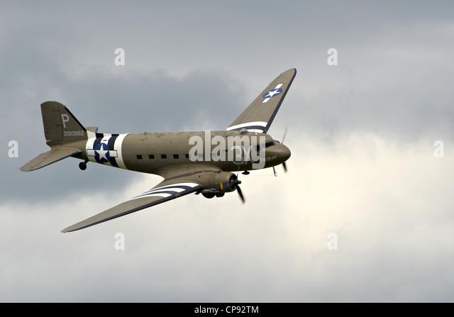 Douglas DC3 Dakota  (C-47 Skytrain) from D-Day in WW2 at Abingdon Airshow 2012. - Stock Image