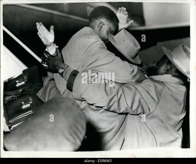 Jan. 01, 1960 - Freed Belgian Congo Leader arrives in Brussels: Patrice Lumumba the Nationalist leader from the - Stock-Bilder