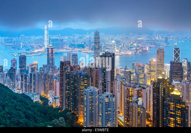 Hong Kong, China city skyline from the Peak. - Stock Image