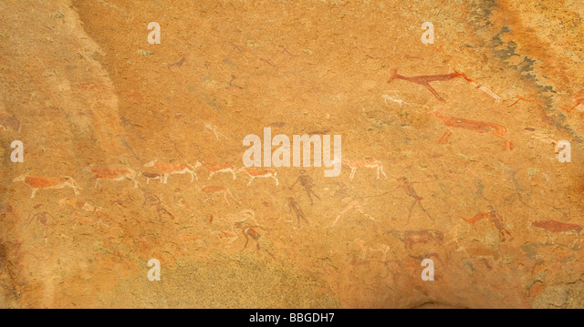 Polychrome rock paintings in Maack's Shelter in the Leopard Gorge, Tsisab Ravine at Mt Brandenberg, Namibia, - Stock Image