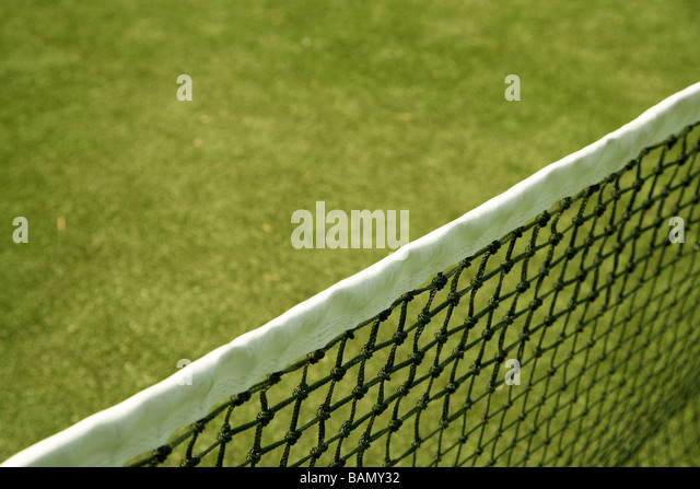 Net in Tennis Court - Stock Image