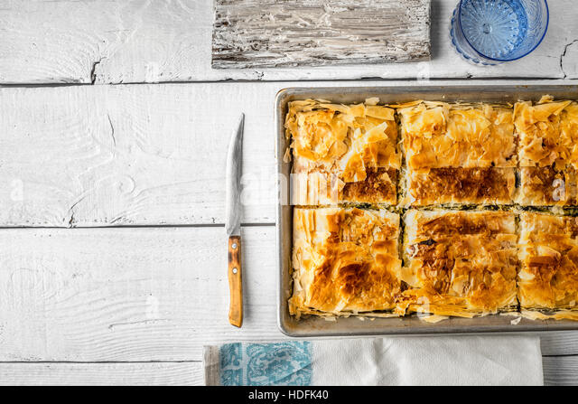 pie cake bakery pastry baking spanakopita dough - Stock Image