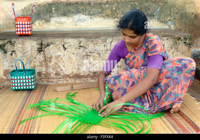 Basket Weaving Example Of Which Industry : Plastic strips stock photos images