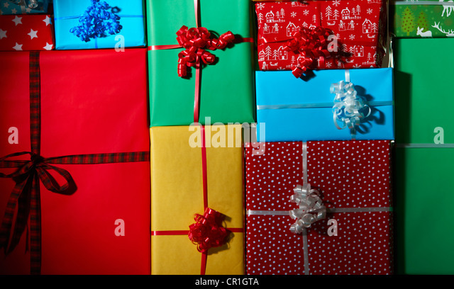 Stack of Christmas gifts - Stock Image