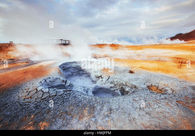 Fumarole field in Namafjall Iceland. Beauty world - Stock Image