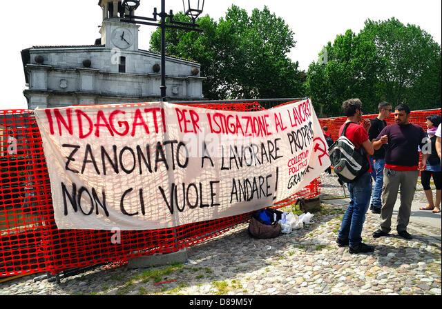 Padua, Italy, May 22, 2013. Banner against the new Italian Minister for Economic  Development Flavio Zanonato. - Stock Image