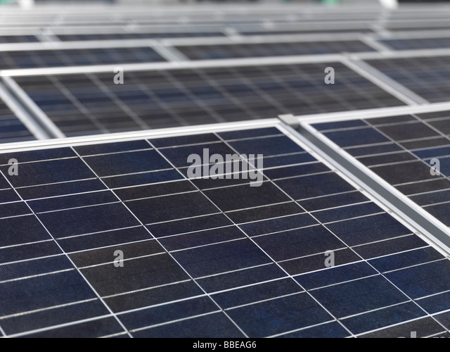 Polycrystalline solar panels close up - Stock Image